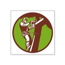 "Arborist Tree Surgeon Trimm Square Sticker 3"" x 3"""