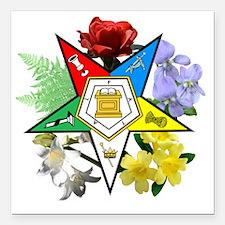 "OES Floral Emblem Square Car Magnet 3"" x 3"""