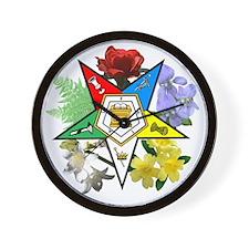 OES Floral Emblem Wall Clock
