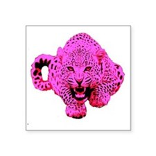 "Pink Leopard Square Sticker 3"" x 3"""