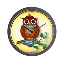 Big Brown Owl Wall Clock