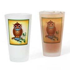 Big Brown Owl Drinking Glass