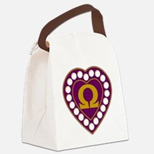 Omega Pearl Heart Canvas Lunch Bag