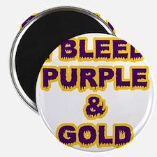 I Bleed Purple  Gold Magnet