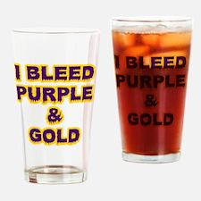 I Bleed Purple  Gold Drinking Glass