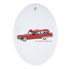 Old Red Ambulance Oval Ornament