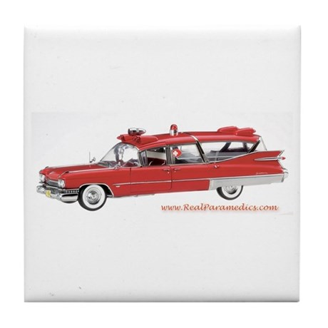 Old Red Ambulance Tile Coaster