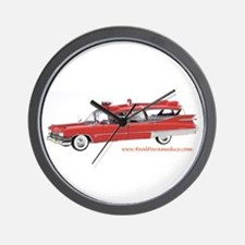 Old Red Ambulance Wall Clock