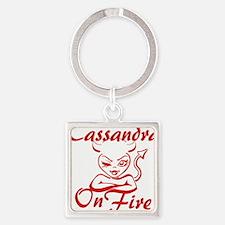 Cassandra On Fire Square Keychain