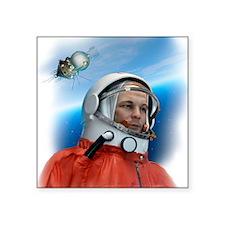 "Yuri Gagarin, Soviet cosmon Square Sticker 3"" x 3"""