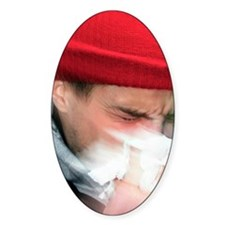 Young man sneezing Decal