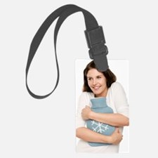 Woman with a hot water bottle Luggage Tag