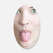 Woman sticking her tongue out Oval Car Magnet