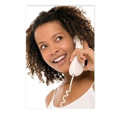 Woman chatting on a phone Postcards (Package of 8)