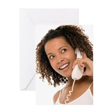 Woman chatting on a phone Greeting Card