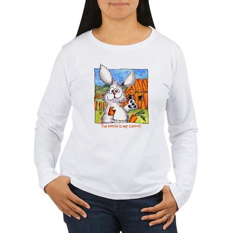 Cartoon Rabbit Carrot Women's Long Sleeve T-Shirt