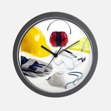 Construction worker's safety equipment Wall Clock