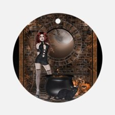 Gothic Witch Round Ornament
