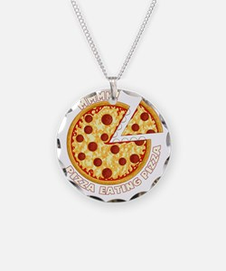 Pizza Eating Pizza on black Necklace