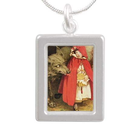 Little Red Riding Hood Silver Portrait Necklace