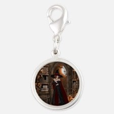 Witch in Library Silver Round Charm