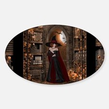 Witch in Library Sticker (Oval)