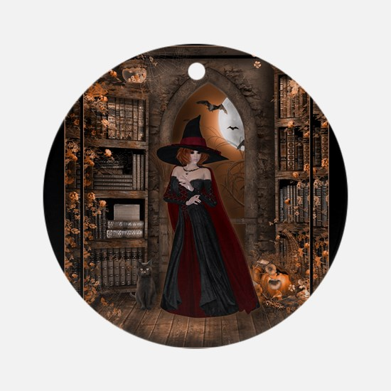 Witch in Library Round Ornament