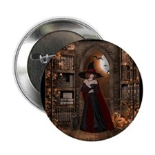 "Witch in Library 2.25"" Button"