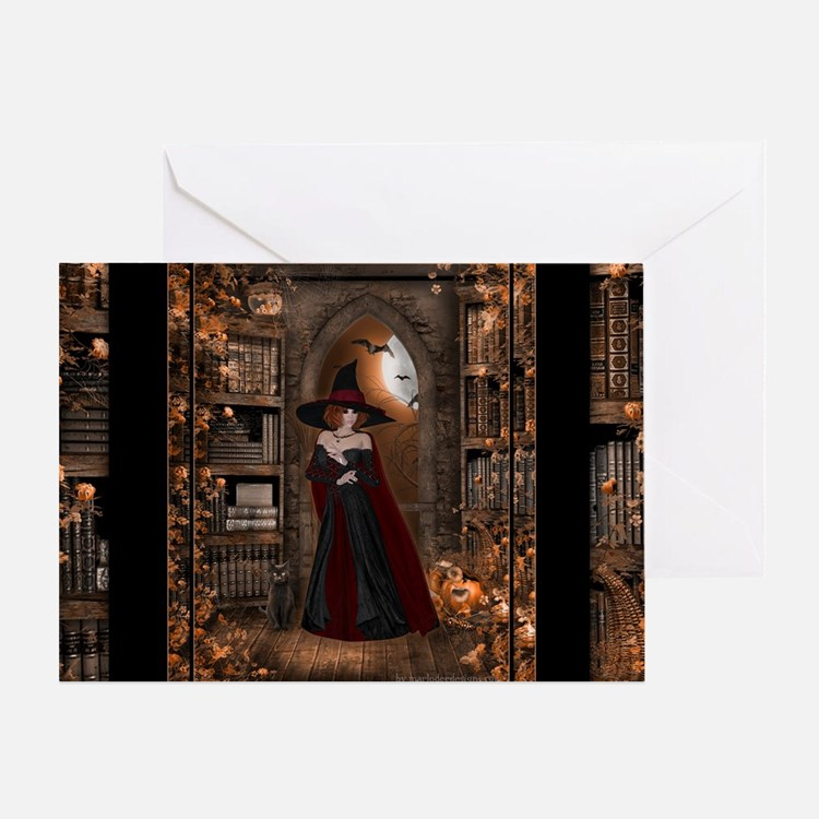 Witch in Library Greeting Card