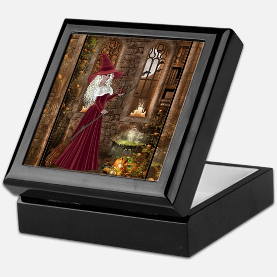 Witch with Candle Keepsake Box