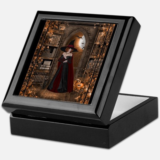 Witch in Library Keepsake Box