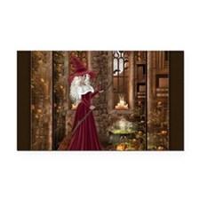 Witch with Candle Rectangle Car Magnet