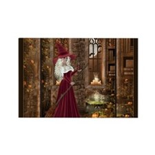 Witch with Candle Rectangle Magnet
