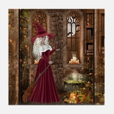 Witch with Candle Tile Coaster