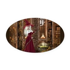Witch with Candle Oval Car Magnet