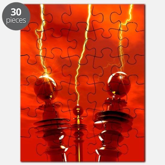 Tesla coils firing, artwork Puzzle