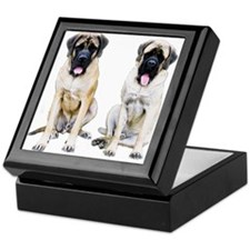 Mastiff Pair Color Sketch Keepsake Box