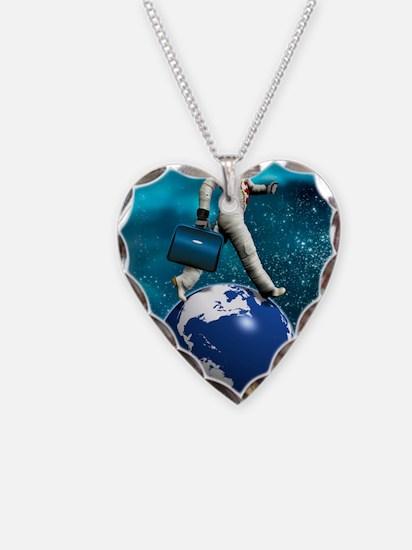 Space tourist, conceptual art Necklace Heart Charm