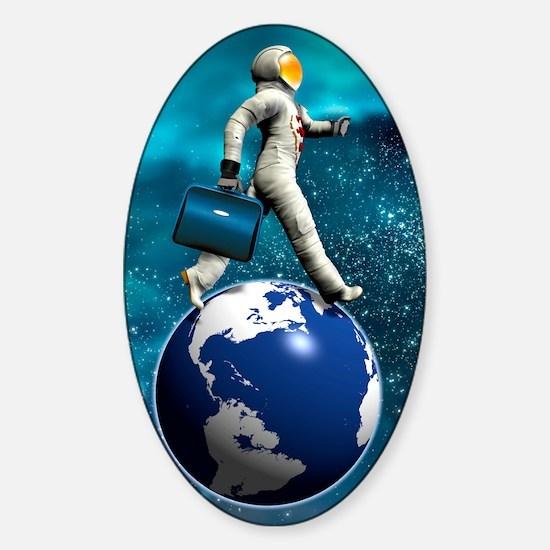 Space tourist, conceptual artwork Sticker (Oval)