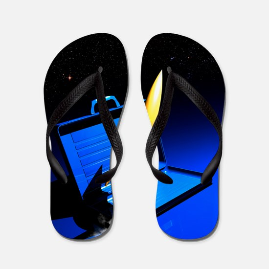 Space travel, conceptual artwork Flip Flops