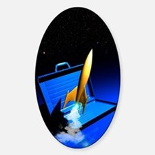 Space travel, conceptual artwork Sticker (Oval)
