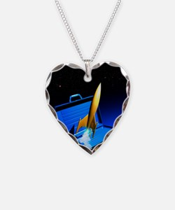 Space travel, conceptual artw Necklace Heart Charm
