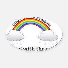 Rainbows  Rain Oval Car Magnet