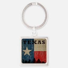 Vintage Texas Skyline Square Keychain