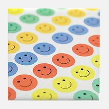 Smiley face stickers Tile Coaster