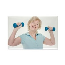 Senior woman lifting weights Rectangle Magnet