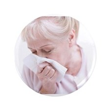 """Senior woman blowing her nose 3.5"""" Button"""