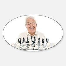 Senior man playing chess Decal