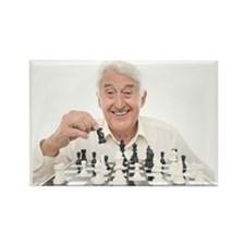 Senior man playing chess Rectangle Magnet