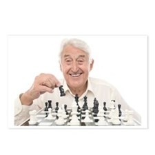 Senior man playing chess Postcards (Package of 8)